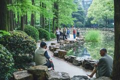 People's Park in Shanghai, China. SHANGHAI, CHINA - MAY 05, 2016: People's Park in the Huangpu District of Shanghai stock photos