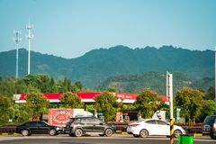 SHANGHAI CHINA, MAY 2017: rest area. parking lot along the way on the Shanghai highway Stock Photography