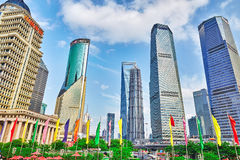 SHANGHAI, CHINA- MAY, 24, 2015: Skyscrapers, city building of Pu Royalty Free Stock Photography