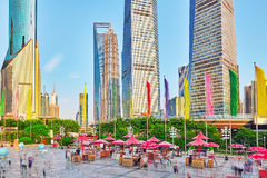 SHANGHAI, CHINA- MAY, 24, 2015: Skyscrapers, city building of Pu Royalty Free Stock Photos