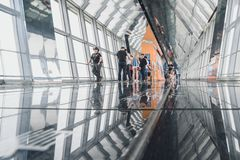Shanghai World Financial Center building Observatory. SHANGHAI, CHINA - MAY 07, 2016: Tourists in Shanghai World Financial Center building Observatory stock photo
