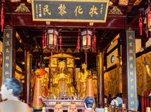 At the 600-year-old Old City God Temple, Shanghai, China. Shanghai, China - Nov 6, 2016: Inside the 600-year-old Old City God Temple. Statues of Taoist Deities royalty free stock photos