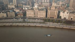 4k aerial video of The Bund in Shanghai in the morning