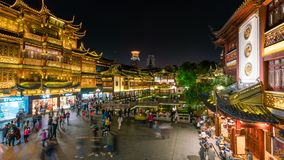 4k timelapse video of Yuyuan Bazaar in Shanghai at night stock video footage
