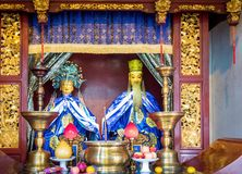 At the 600-year-old Old City God Temple, Shanghai, China. Shanghai, China - Nov 6, 2016: In the 600-year-old Old City God Temple. Old Taoist deities male and royalty free stock photos