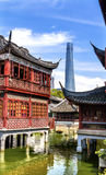 Shanghai China Old and New Shanghai Tower and Yuyuan Garden Royalty Free Stock Photography