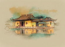 Shanghai China. Sepia, Graphics on old paper. Watercolor sketch royalty free illustration