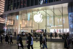 An Apple Inc. store in Shanghai, China. Shanghai, China: September 26, 2018: An Apple Inc store in Shanghai, China. Apple, Inc. has seven stores in Shanghai stock images