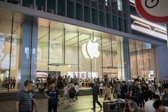 An Apple Inc. store in Shanghai, China. Shanghai, China: September 26, 2018: An Apple Inc store in Shanghai, China. Apple, Inc. has seven stores in Shanghai royalty free stock images