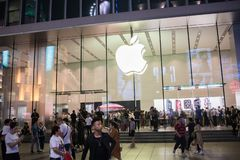 An Apple Inc. store in Shanghai, China. Shanghai, China: September 26, 2018: An Apple Inc store in Shanghai, China. Apple, Inc. has seven stores in Shanghai stock image