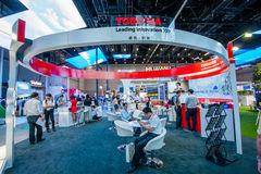 SHANGHAI, CHINA - SEPTEMBER 2, 2016: Booth of Toshiba company at Stock Images