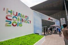 SHANGHAI, CHINA - SEPTEMBER 2, 2016: De deelnemers van Huawei verbinden Stock Foto