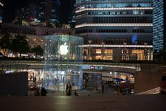 Apple, Inc. store in Shanghai, China. Shanghai, China: September 26, 2018: An exterior of an Apple, Inc. store in Shanghai China. Apple, Inc. has seven stores in royalty free stock image