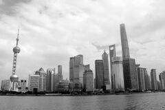 Shanghai, China skyline in black and white
