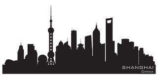Shanghai China city skyline vector silhouette. Shanghai China skyline Detailed vector silhouette royalty free illustration