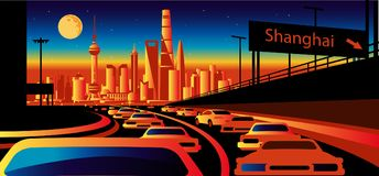 Shanghai China Arabia skyline. Shanghai China skyline stylized skyline royalty free illustration