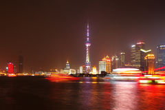 Shanghai, China: A skyline view across the Bund at night Royalty Free Stock Images