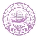 Shanghai, China stamp. Grunge rubber stamp with ship and the word Shanghai, China inside royalty free illustration