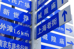 Shanghai China Street Signs. In simplified chinese  pointing to various views or streets within the city of Shanghai China Royalty Free Stock Photo