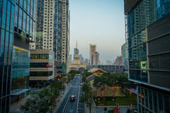 SHANGHAI, CHINA: Walking around the traditional Jing`an temple neighborhood, modern tall office buildings in background.  Royalty Free Stock Photography