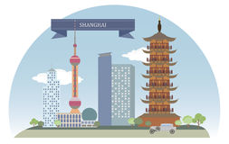 Shanghai, China. For you design royalty free illustration