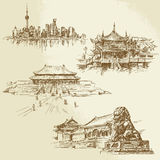 Shanghai - chinese heritage. Hand drawn set vector illustration