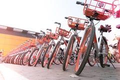 SHANGHAI, CINA - APRILE 2017: Un parcheggio della bicicletta per il viaggiatore facente un giro turistico Immagine Stock