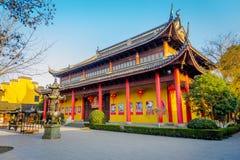 SHANGHAI, CINA - 29 GENNAIO 2017: Il bello cinese tradizionale Zhouzhuang interno individuato costruzioni innaffia la città Fotografie Stock Libere da Diritti