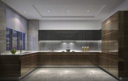 Shanghai, Cina, lo stile moderno della cucina nell'appartamento fotografie stock libere da diritti