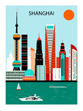 Shanghai city. Shanghai сity in bright colors vector illustration
