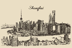 Shanghai City architecture China vintage sketch. Shanghai City architecture China vintage engraved illustration hand drawn sketch royalty free illustration
