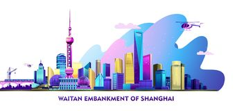 Shanghai city banner. Vector horizontal illustration of the Chinese city Shanghai embankment banner with skyscrapers, bridge and transport, on white background stock illustration