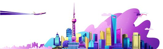 Shanghai city banner. Vector horizontal illustration of the Chinese city Shanghai embankment banner with skyscrapers, bridge and transport, on white background vector illustration