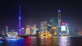 Shanghai city bay night light illumination panorama 4k time lapse china. China shanghai city bay night light illumination famous panorama 4k time lapse stock video