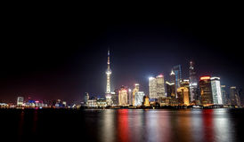 Shanghai city with bright lights Royalty Free Stock Images