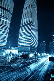 Shanghai city building. Shanghai Pudong night, car light trails Royalty Free Stock Images