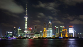 Shanghai City Center by Night Royalty Free Stock Photography