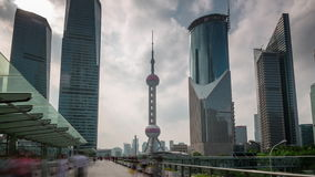 Shanghai city day downtown buildings walk panorama 4k time lapse china. China shanghai city day downtown famous buildings walk panorama 4k time lapse stock video