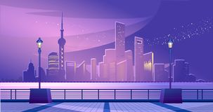 Shanghai city embankment. Vectornay panoramic view of the waterfront on the other side of the coast. futuristic skyscrapers lit by neon lights in the night sky stock illustration