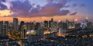 Shanghai city fall asleep. Lights of the community starts to turn on when night falls Stock Images