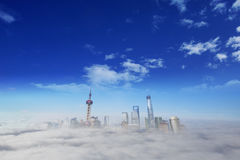 Shanghai city in fog Stock Photo