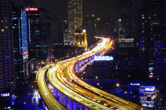 Shanghai city highway traffic in nightfall Stock Images