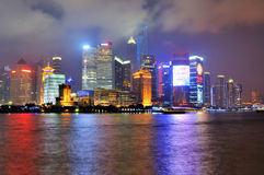 Shanghai city and Huang-pu river night view, China Royalty Free Stock Images