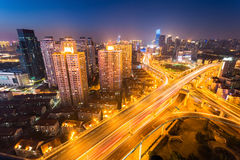 Shanghai city interchange at night Stock Image