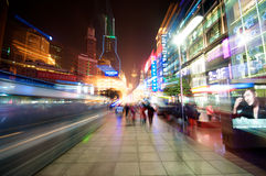 Shanghai City in motion. Busy Shopping district at Nanjing Road in Shanghai Stock Photos