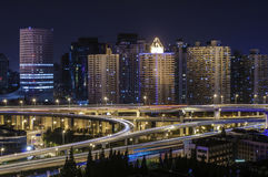 Shanghai City at night. ,Fashion is bustling nightlife royalty free stock photos