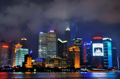 Shanghai city night beside Huang-pu river, China Royalty Free Stock Image