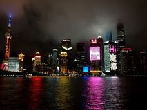 Shanghai city night river royalty free stock photography