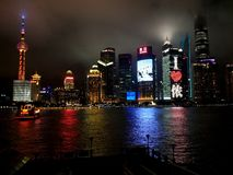 Shanghai city night river stock image