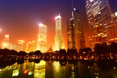 Shanghai  City night scene Stock Photos